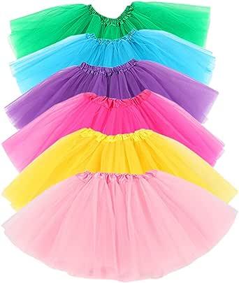 hikong 6 Pcs Tutu Rock Ballettrock Mädchen Tütü Minirock 3 Schichten Tüll Tüllrock Prinzessin Regenbogen Röckchen Tanzkleid mit 6