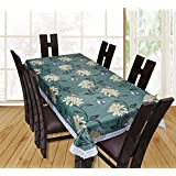 Casa Furnishing PVC Green Flower Printed 6 Seater Table Cover/Cloth Waterproof Protector 60x90 Inches Rectangle (Dining Table Cover With Lace 6 Seater)