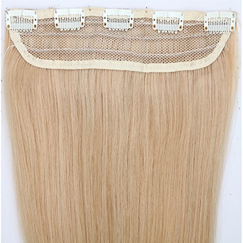 40-55cm fascia unica extension capelli veri clip una ciocca 5 fermagli remy capelli umani (50cm-50g, 24# biondo chiaro)
