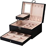 MONTE Leather Jewelry Box Multi-layer High-capacity Storage Box with Lock and Mirror Multi-functional Jewelry Box for Necklac