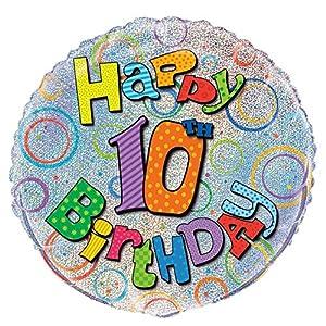 Unique Party Globo Foil cumpleaños Happy 10th Birthday, 45 cm (55503) , Modelos/colores Surtidos, 1 Unidad
