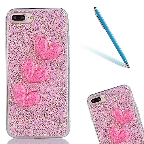 "iPhone 7Plus Schutzhülle, iPhone 7Plus Softcase, CLTPY Luxus Bling Sparkly Kristall TPU Handytasche mit Fließen Herzmuster für 5.5"" Apple iPhone 7Plus (Nicht iPhone 7) + 1 x Stift - Rosa 1 Rosa 1"