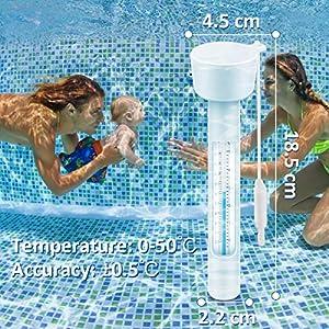 WOSTOO Termometro Piscina, Termometro Galleggiante con Cordicella da Piscina, per Tutti all'aperto & Piscine al Coperto, Centri Benessere e vasche idromassaggio, acquari & Stagni di Pesce