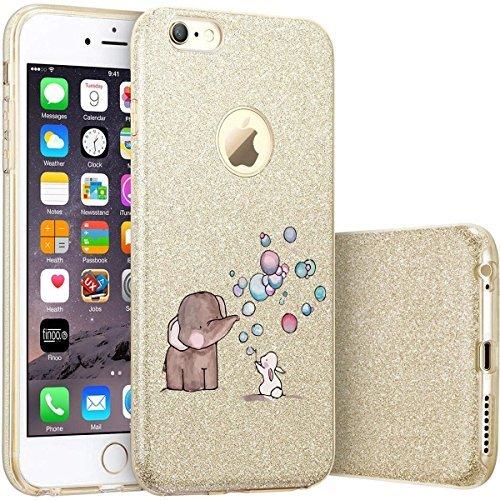 finoo | iPhone 7 Goldene bedruckte Rundum 3 in 1 Glitzer Bling Bling Handy-Hülle | Silikon Schutz-hülle + Glitzer + PP Hülle | Weicher TPU Bumper Case Cover | Queen Black Elefant Hase Seifenblasen
