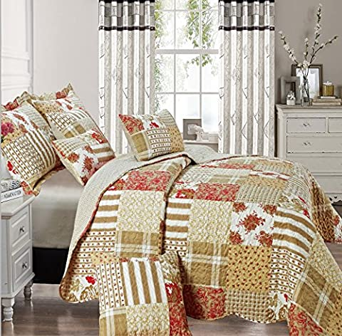 Beautiful Floral Vintage Patchwork Quilted Bedspread/Throw with 2 Pillow Shams (Alvina) (Double)