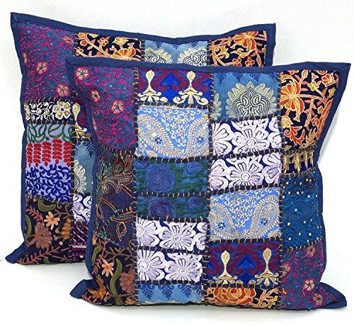 2PC Ethnic Sari Patchwork Kissenbezug, 40,6x 40,6cm bestickt Kissen, Blau indischen Patchwork Kissen Sari Patch Überwurf Kissen -