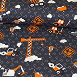 Stoffe Werning Baumwolljersey Baustelle Grau Orange Kinderstoff - Preis Gilt für 0,5 Meter