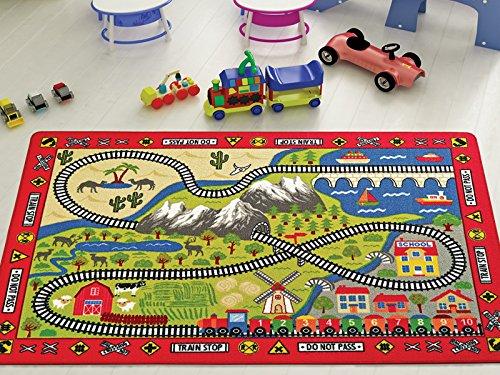 Kinder-fun-teppich (RAILWAY Eisenbahn Kinder Fun & Bunte Straßen Spielteppich-Teppich Rutschfeste-100x 150cm)