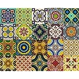 Pegatinas de azulejos Backsplash 24Pc Set tradicional Talavera pegatinas de azulejos baño y cocina azulejos adhesivos fácil de aplicar despegar y pegar. Home Decor 10x 10cm