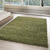 Hochflor Shaggy Teppich MONO einfarbig Wohnzimmer Teppiche unifarben TOP ANGEBOT 5555, Maße:80x150 cm, Farbe:Grau