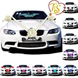 TtS Ivory Ribbon Wedding Car Decoration Kit Wrapping Large Bow  (3 Bows 7 metres Ribbon )
