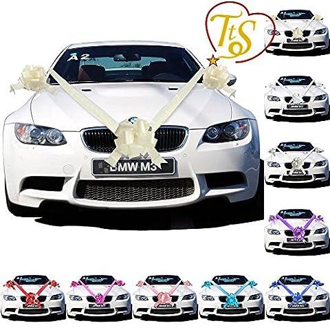 TtS Ivory Ribbon Wedding Car Decoration Kit Wrapping Large Bow (5 Bows 7 metres Ribbon )
