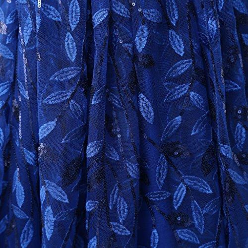 Eudolah Robe de soirée longue en tulle pailleté avec broderies en feuilles demoiselle d'honneur Femme Rose