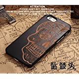Coco@ iPhone 7 Plus Case,Coco Laser Carving Marked Wood Case Wooden Case Cover with Durable Polycarbonate Bumper Slim Covering Case for Apple iPhone7 Plus (Skull-Black)