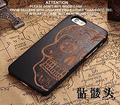 Holz iPhone 6/6S Fall - Coco Laser Carving markiert Holz Fall Schutzhülle mit robustem Polycarbonat Bumper Slim, die Schutzhülle für Apple iPhone 6S, iPhone 6 (11,9 cm), Skull-Black