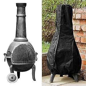 Librao Outdoor Patio Chimenea Cover Waterproof Black Garden Heater Rain Sun UV Protector 1.2m High