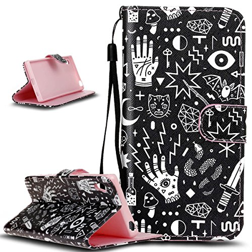 Sony Xperia Z5Funda, Sony Xperia Z5Funda, ikasus hermoso patrón pintado funda de piel sintética plegable tipo cartera, funda de piel tipo cartera funda con función atril para tarjetas de crédito titulares de id caso Cover para Sony Xperia Z5