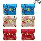 Nuolux, 12 borsette cinesi in broccato di seta ricamato, portagioielli tradizionale