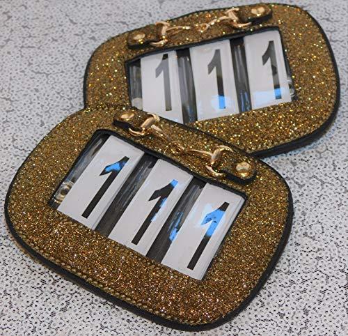 Kopfnummern Kopfnummer Glitzer Leder Straß Schwarz Braun 2 Systeme Turnier Nummer Nummern Tysons (BIT) -