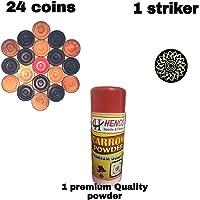 HENCO Carrom Coins (24 Carrom Coins with 1 Striker & 1 Big Powder)