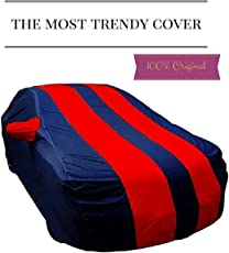 Branded Double Colour Water Resistant Car Body Cover for Datsun Redi Go - Blue and Red - Mirror Pocket