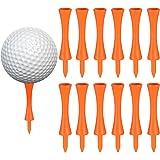 100 Pcs 75mm Tee Golf Plastique Orange, Durables Tees de Golf Château, pour Driver Golf, Tapis Golf et Balles de Golf Plastiq