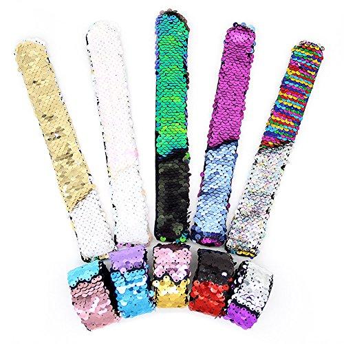 SWNKDG Meerjungfrau Armbänder, 2-farbig Reversible Charme Pailletten Slap Spielzeug Armband für Party, Dekor, Kinder mit Super-Soft Velvet Futter (10 ()