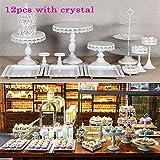12 Bandejas para tartas Kit de soporte para pastel de boda Blanco con gradas Pop Soporte de pastel de cumpleaños Metal redondo Soporte para exhibición de pastel grande Halloween Fiesta de cumpleaños