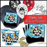 Kleine Piraten - Partyset Kindergeburtstag Partygeschirr, Goldtaler. Ballons, Einladungskarten
