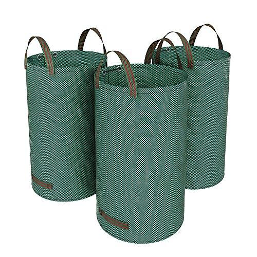 SONGMICS 3 x Gartensack 120L Gartenabfallsack, Abfallsack für Gartenabfälle, faltbar, Grün GTS120L