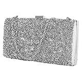 elfisheu Abendtasche Damen Clutch Handtaschen mit Abnehmbar Kette Glitzernd Abendtasche Kette Crystal Handtasche für Party Hochzeit (Silber)