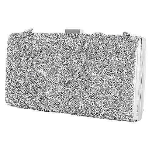 Interlink Pochette donna elegante da cerimonia Borsetta da donna Prom Diamonds Borsa da sera per donna (argento)