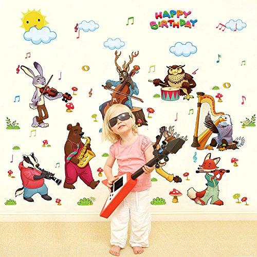 Decalmile animali adesivi murali festa di compleanno musica removibile vinile adesivi da parete per bambino camera da letto asilo nido