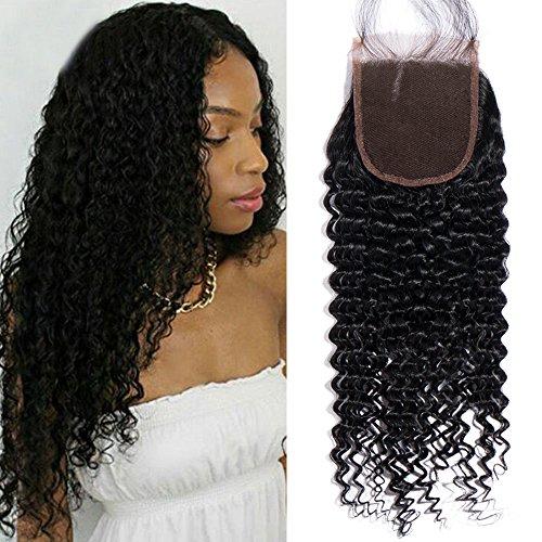 My-Lady® Closure Tissage Bresilien Bouclé Kinky Top Lace Closure Lace Frontal 4*4 - Tissage Meches Bresiliennes en Cheveux Naturel (#1B Noir Naturel, 10 pouces)