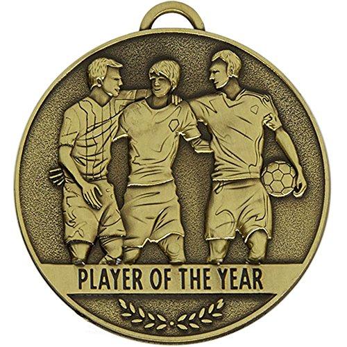 60 mm Team Spirit Spieler Fußball Medaille Spieler des Jahres mit kostenloser Gravur bis zu 30 Buchstaben + gratis Band