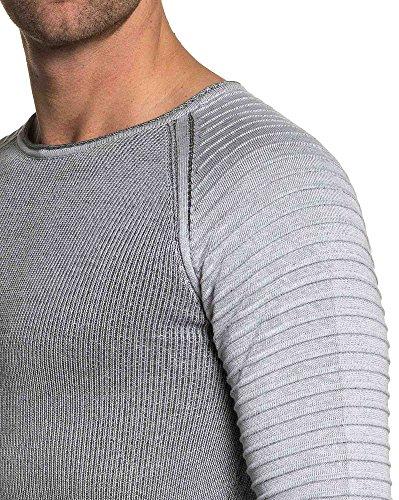 BLZ jeans - Pull homme gris manches raglan en maille relief Gris