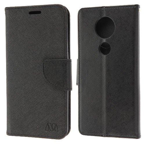 luckiefind Kompatibel mitMotorola Moto E5Plus/E5Supra, Premium PU Leder Flip Wallet Kreditkarte Fall, Wallet - Schwarz Motorola Front-faceplates