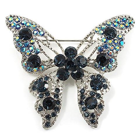 Dazzling Navy Blue Swarovski Crystal Butterfly Brooch (Silver Tone)