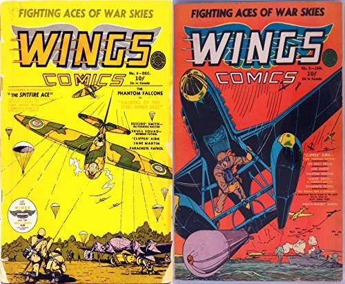 Wings Comics  Issues 4 and 5  Fighting aces of war skies  Fearures the  spitfire ace, phantom falcons, suicide smith, clipper kirk, torpedo patrol  and