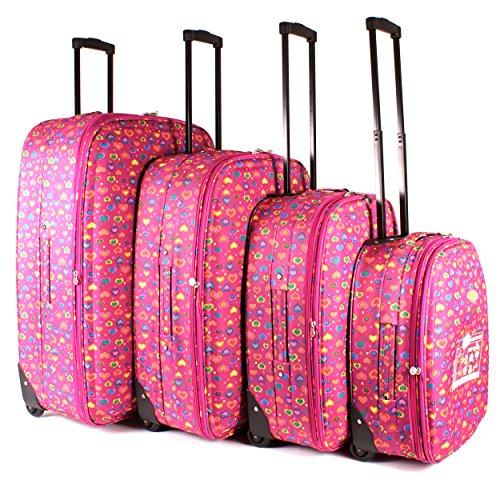 tc-hp-01 Fuchsia Hearts bagages Lot de 4 – Funky léger Aero Voyage Valise