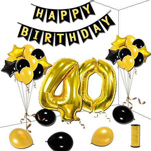 KUMEED 40th Birthday Theme Party Decorations Kit Gold Black Star Balloons Happy Banner Number 40