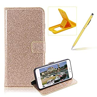 Wallet Leather Case for iPhone 7,Flip Cover for iPhone 8,Herzzer Stylish Premium Solid Color Gold Glitter Magnetic Closure Stand Case with Inner Soft Rubber Protective Case