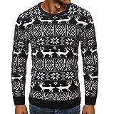 BEIXUNDIANZI Homme Pull Ugly Christmas Jumper Pull Sweat-Shirt Longues Femme Noël Pullover Hommes Unisexe Pulls Retro Noël Tricots A-Black 2XL