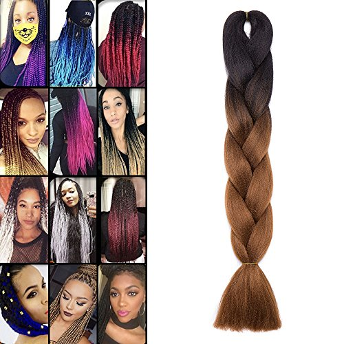 Extension treccine ombre capelli a treccia finta braiding hair una ciocca braids extension 100g, due tonalità 22# nero a marrone
