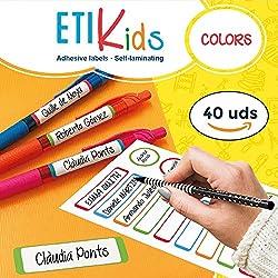 ETIKIDS 40 Etiquetas adhesivas laminadas personalizables multiusos (color) para la guardería y el colegio.