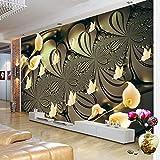 Wandgemälde Benutzerdefinierte Mural Tapete Für Schlafzimmer Wände 3D Geprägt Lilie Blume Schmetterling Hintergrund Tapeten Wohnkultur Wohnzimmer Modern,180Cm(H)×280Cm(W)