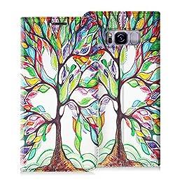 """Fintie Funda para Samsung Galaxy S8 2017 - Carcasa de Cuero Sintético [Ranuras para Tarjetas] con Función de Soporte para Samsung Galaxy S8 Smartphone 5.8"""", Love Tree"""