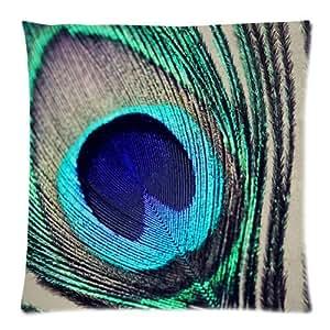 """Oiseau Paon plumes de Paon plume Plaid Taie zippée coussin Home Housse de canapé décorative 18 X 18 cm """"(Twin Sides)"""