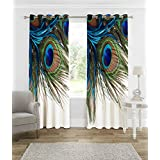 B7 CREATIONS Digital Print Peacock Feathers Knitting Eyelet Door Curtain (46x82 Inches, 4x7ft, White) - 1 Piece