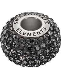 Grand Trou Perles de Verre a enfiler de Swarovski Elements 'BeCharmed Pave' 14.0mm (Crystal Silver Night, Acier affiné), 12 Pièces